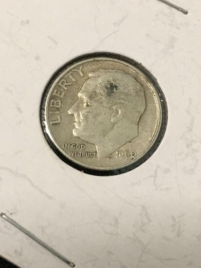 1960-D United States Roosevelt Dime - 90% Silver Coin
