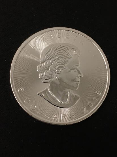2018 Canadian Maple Leaf 1 Ounce .999 Fine Silver $5 Bullion Round