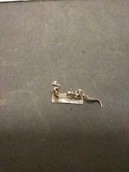 Nevada Cowboy And Donkey Sterling Silver Charm Pendant