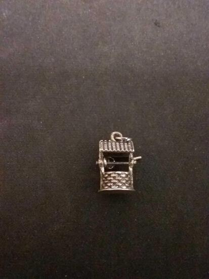 3D Wishing Well Sterling Silver Charm Pendant