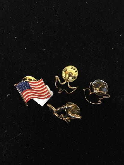 Lot of Four Various Shape & Style Gold-Tone Alloy Commemorative Pins, Three Religious & One American