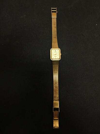 Waltham Designed 17x14mm Diamond Accented Bezel Gold-Tone Stainless Steel Watch w/ Bracelet