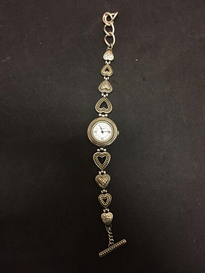 Brighton Designed 21mm Round Bezel Stainless Steel Watch w/ Heart Motif Bracelet