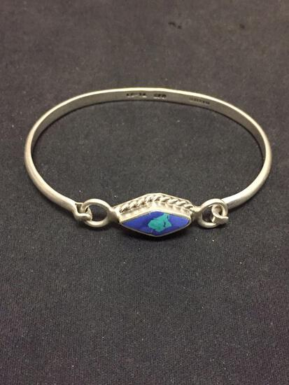 Diamond Shaped Turquoise Inlaid Taxco Mexican Made 3in Diameter Sterling Silver Bangle Bracelet