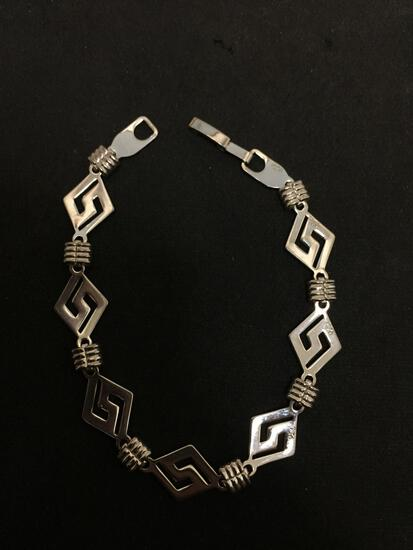 Diamond Shaped Greek Key Design 12mm Wide 8in Long Sterling Silver Bracelet