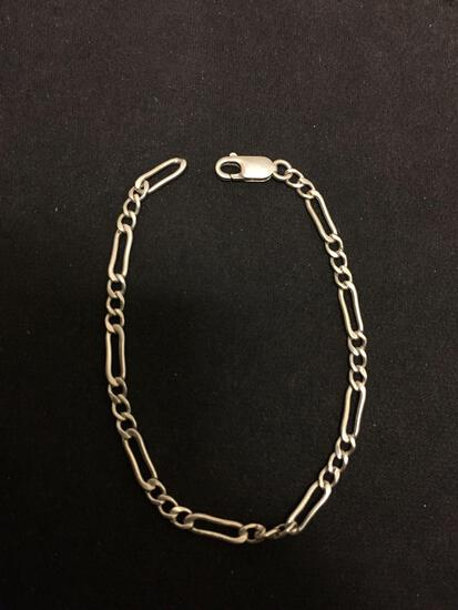 Figaro Link 3.0mm Wide 7in Long Sterling Silver Bracelet