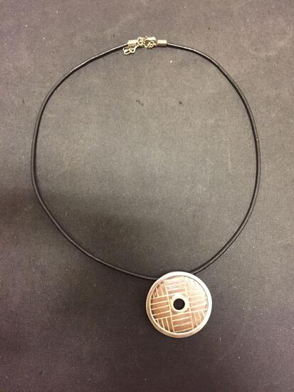 Sajen Designed Round 34mm Patterned Sterling Silver Pendant w/ 18in Leather Cord