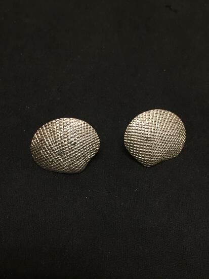 Textured 20x18mm Clamshell Motif Pair of Sterling Silver Button Earrings