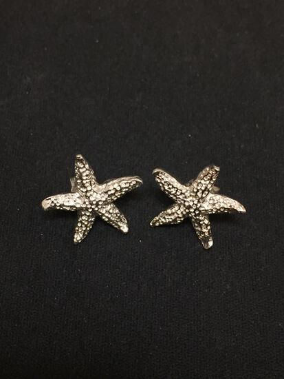 Starfish Motif 17mm Diameter Pair of Sterling Silver Button Earrings