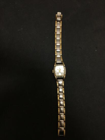 Anne Klein Designed 20x18mm Diamond Accented Bezel Two-Tone Stainless Steel Watch w/ Bracelet