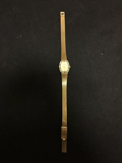 Gruen Designed 18x15mm Diamond Accented Bezel Gold-Tone Stainless Steel Watch w/ Bracelet
