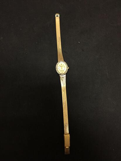 Dufonte Lucien Piccard Designed Oval 20x17mm Diamond Accented Bezel Gold-Tone Stainless Steel Watch