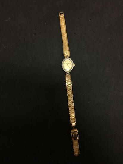 Pierre Vallee Designed 20x15mm Diamond Accented Bezel Gold-Tone Stainless Steel Watch w/ Bracelet