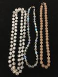 Lot of Three Resin Beaded Fashion Necklaces, One 36in, One 18in & One 20in