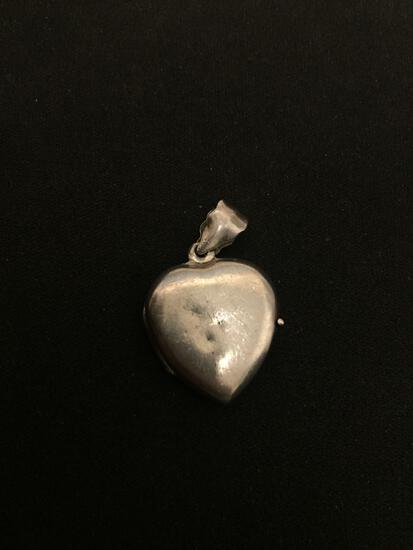 Vintage Opening Heart Locket Sterling Silver Charm Pendant
