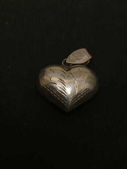 Etched Puffy 3D Heart Sterling Silver Charm Pendant