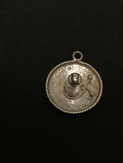 Old Pawn Mexico Sombrero Sterling Silver Charm Pendant