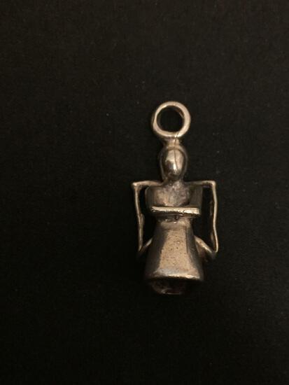 Heavy Modernist Artist Sitting Sterling Silver Charm Pendant