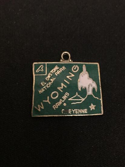 Enameled Vintage Wyoming Sterling Silver Charm Pendant