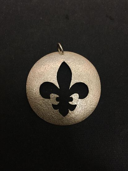 Large Pierced Fleur De Lis Sterling Silver Charm Pendant