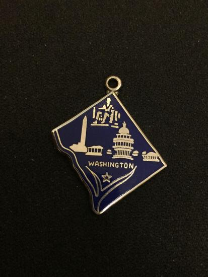 Vintage Washington DC Capital Enameled Sterling Silver Charm Pendant