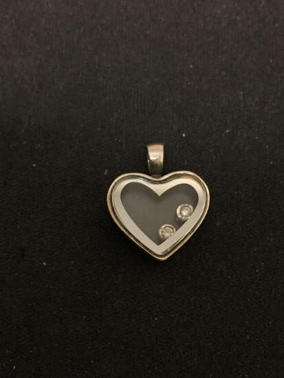 Sterling Silver & Glass Heart Charm Pendant W/ Gemstones Inside