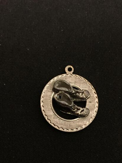 Vintage Boots Sterling Silver Charm Pendant