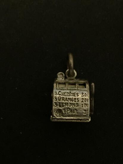 3D Slot Machine With Moving Handle Sterling Silver Charm Pendant