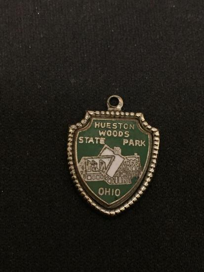 Hueston Woods State Park Ohio Sterling Silver Charm Pendant