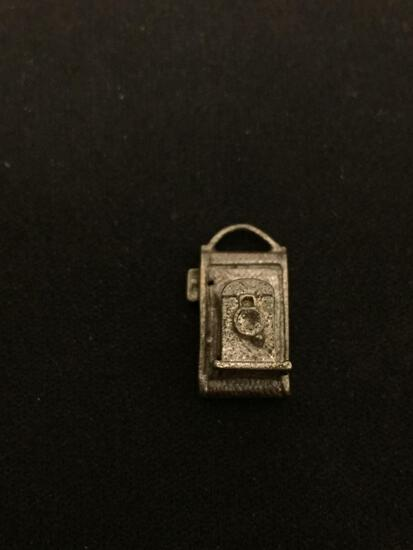 Antique Style Camera Sterling Silver Charm Pendant