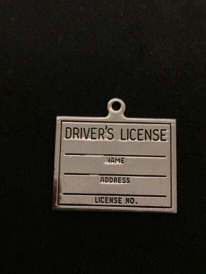 Drivers License Sterling Silver Charm Pendant