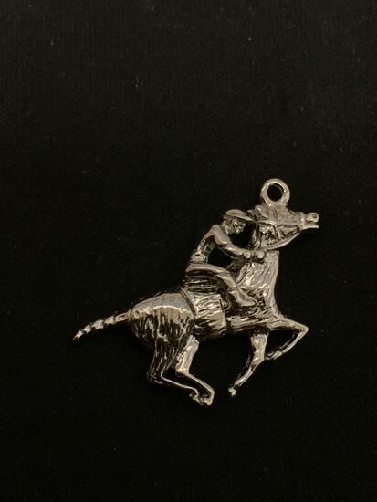 Race Horse Sterling Silver Charm Pendant