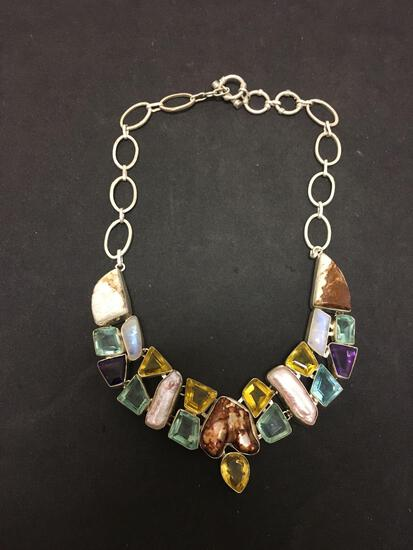 Mabe Pearl Featured w/ Topaz, Moonstone, Citrine & Amethyst Faceted Accents Stamped 925 Nickel