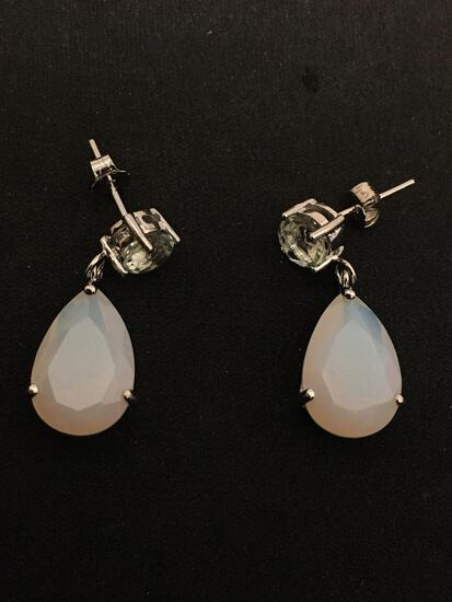 Pear Faceted 15x10mm Opalite w/ 6.0mm Round Faceted Quartz Accent Pair of Sterling Silver Drop