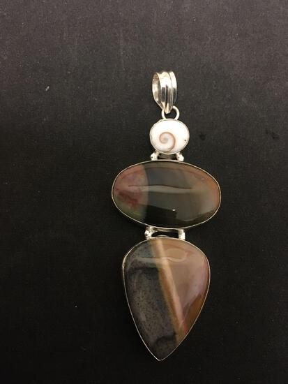 Teardrop & Oval Fashioned Cabochon Jasper w/ Shiva Shell Accent 3.5in Long Sterling Silver Pendant