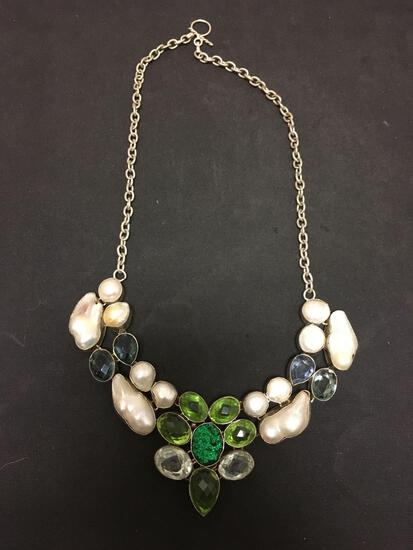 Multi-Colored Faceted Gemstones W/ Druzy Accent & Mabe Pearls Stamped 925 Nickel Silver Necklace
