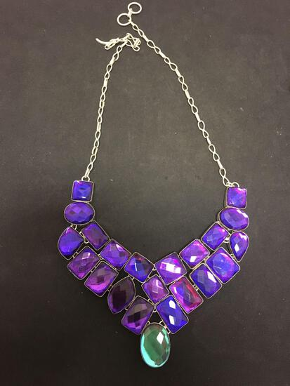 Brilliant Foil Backed Purple Faceted Resin Gem w/ Blue Oval Drop Stamped 925 Nickel Silver Necklace