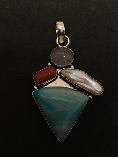 Triangular Dyed Ocean Blue Agate Cabochon w/ Coral, Mabe Pearl & Quartz 2in Long Stamped 925 Nickel