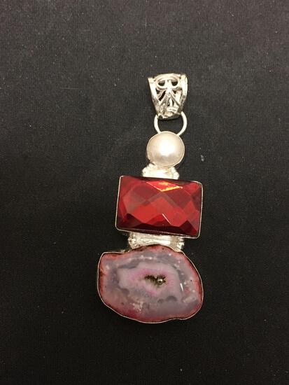 Dyed Pink Druzy w/ Mabe Pearl & Red Foil Back Faceted Gem Accented 2.5in Long Stamped 925 Nickel