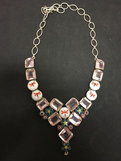 Murano Glass Bead Featured w/ Faceted Rose Quartz & Dragonfly Accents Stamped 925 Nickel Silver