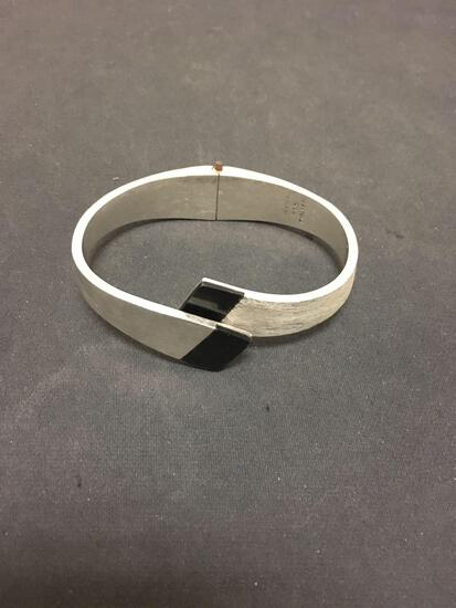 Brushed & High Polished Finished 15mm Wide Tapered Taxco Mexican Made Solid Sterling Silver Hinged