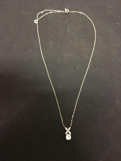 Round Faceted 5.0mm Zircon w/ Round & Marquise Accents Sterling Silver Pendant w/ 18in Adjustable