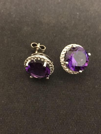 Round Faceted 10mm Amethyst w/ Faux Diamond Halo Pair of Sterling Silver Button Earrings