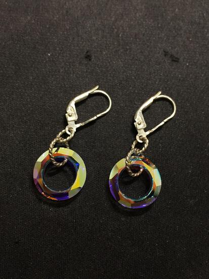 Colorful Round 9mm Disc Faceted Crystal 1.5in Long Pair of Sterling Silver Earrings