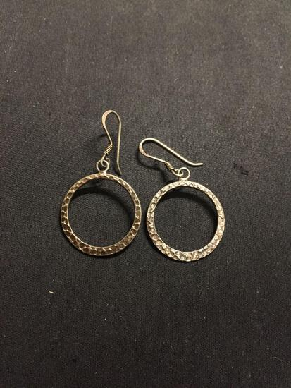 Round 22mm Hammer Finished Disc Design 1.5in Long Pair of Sterling Silver Earrings