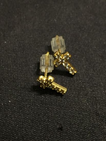 Petite 9mm Long Rhinestone Accented Gold-Tone Pair of Sterling Silver Cross Stud Earrings