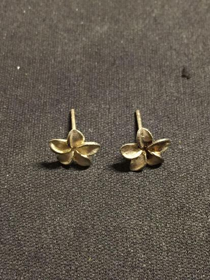 Brush Finished Round 9mm Flower Blossom Pair of Sterling Silver Stud Earrings