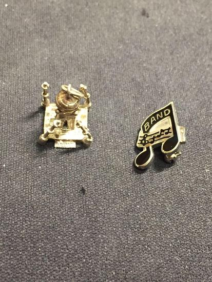 Lot of Two Sterling Silver Items, One Black Enameled Music Note Pin & Taj Mahal Themed Charm