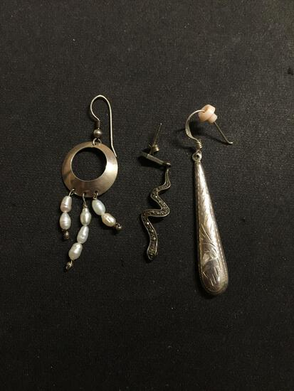 Lot of Three Various Size, Shape & Styled Single Mismatched Drop Earrings