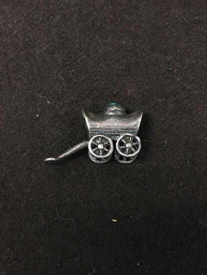 Old Pawn Sterling Silver & Malachite Wagon Carriage Bugy Charm